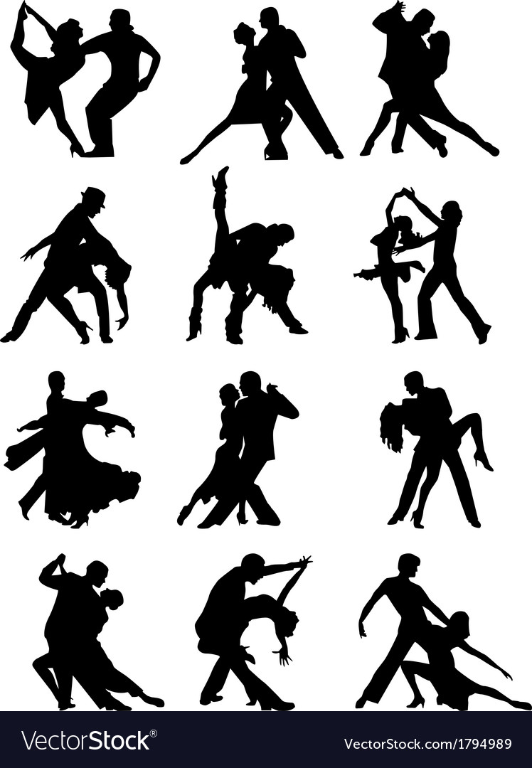 Set of silhouettes of dancing couple vector | Price: 1 Credit (USD $1)