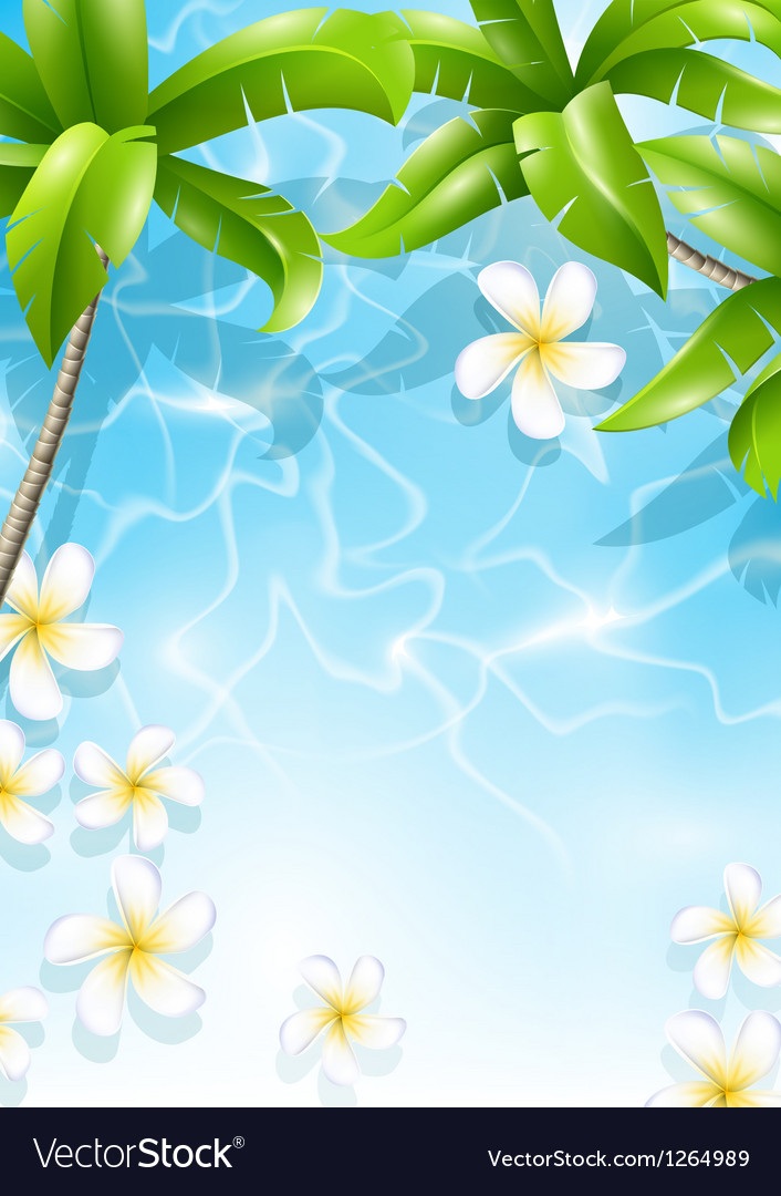 Tropical background with flowers in water vector | Price: 3 Credit (USD $3)