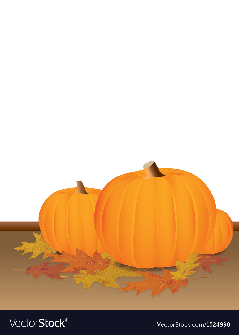 Autumn pumpkins and colorful leaves vector | Price: 1 Credit (USD $1)