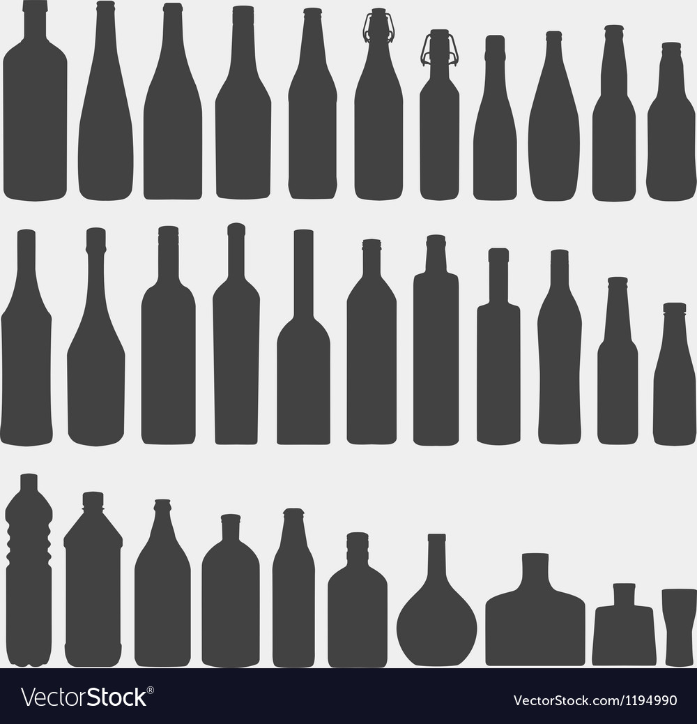 Bottle silhouette set vector | Price: 1 Credit (USD $1)