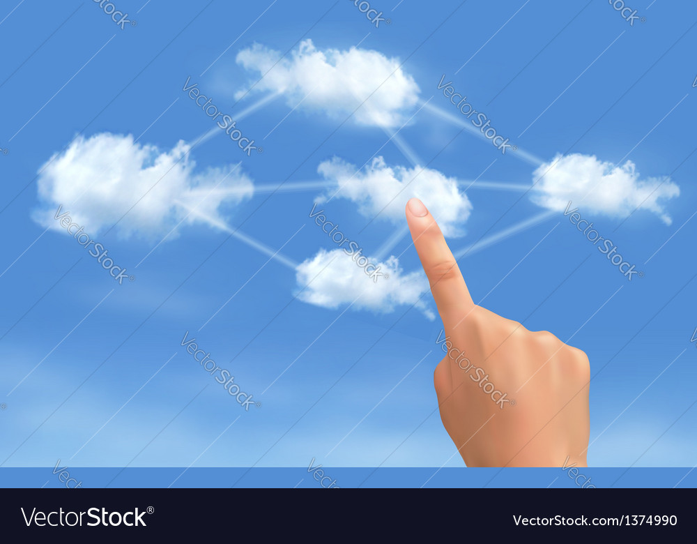 Cloud computing concept hand touching connected vector   Price: 3 Credit (USD $3)