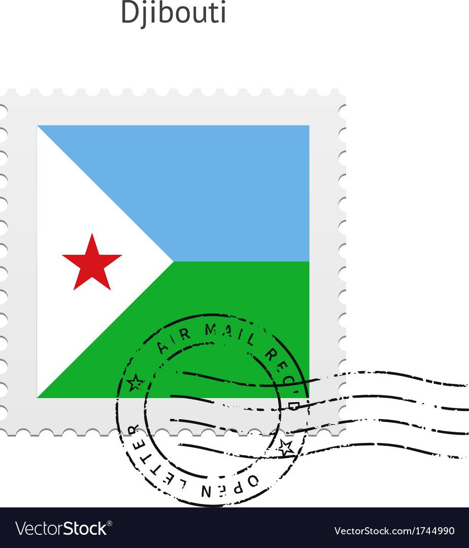 Djibouti flag postage stamp vector   Price: 1 Credit (USD $1)