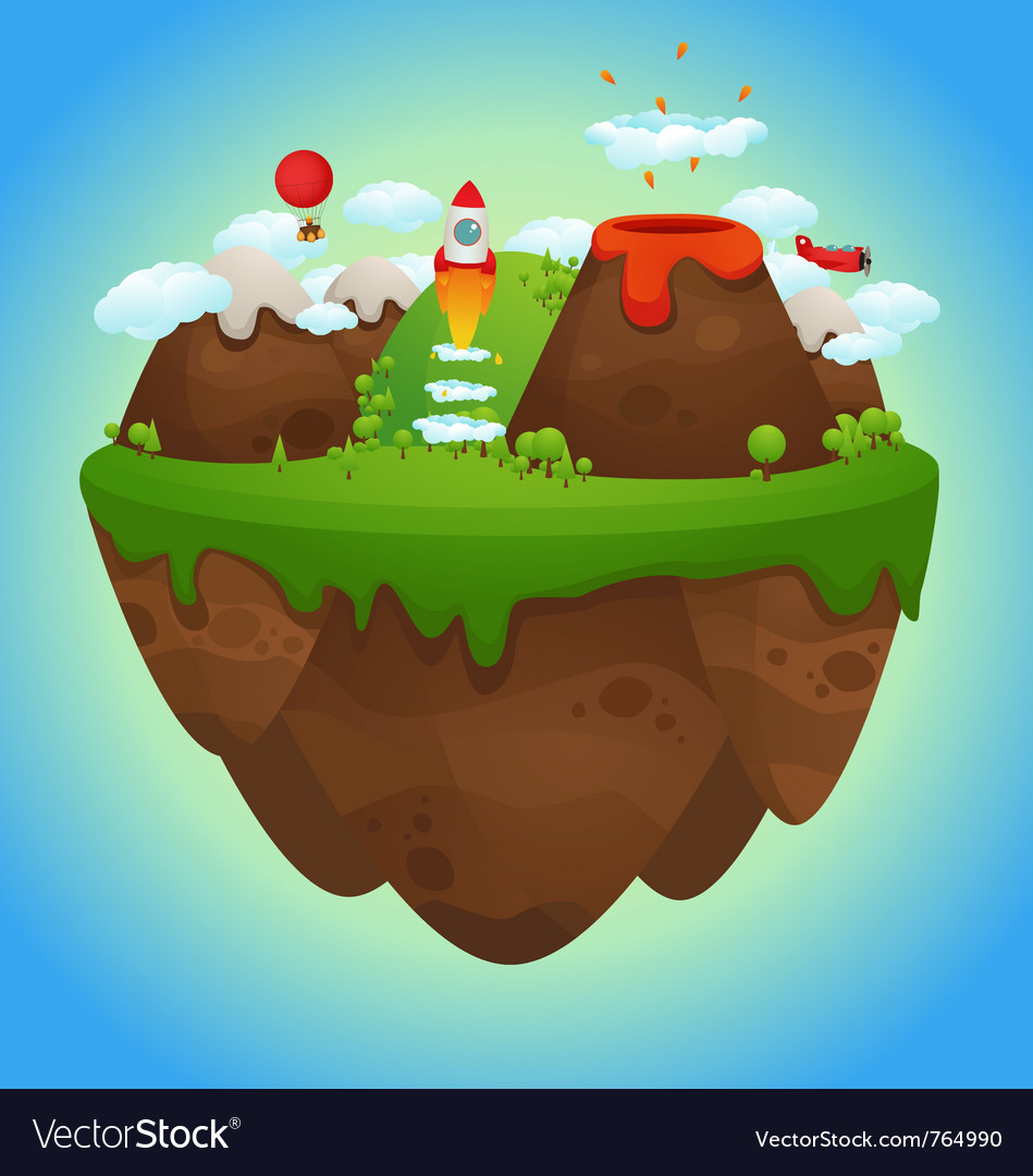 Floating island vector | Price: 3 Credit (USD $3)