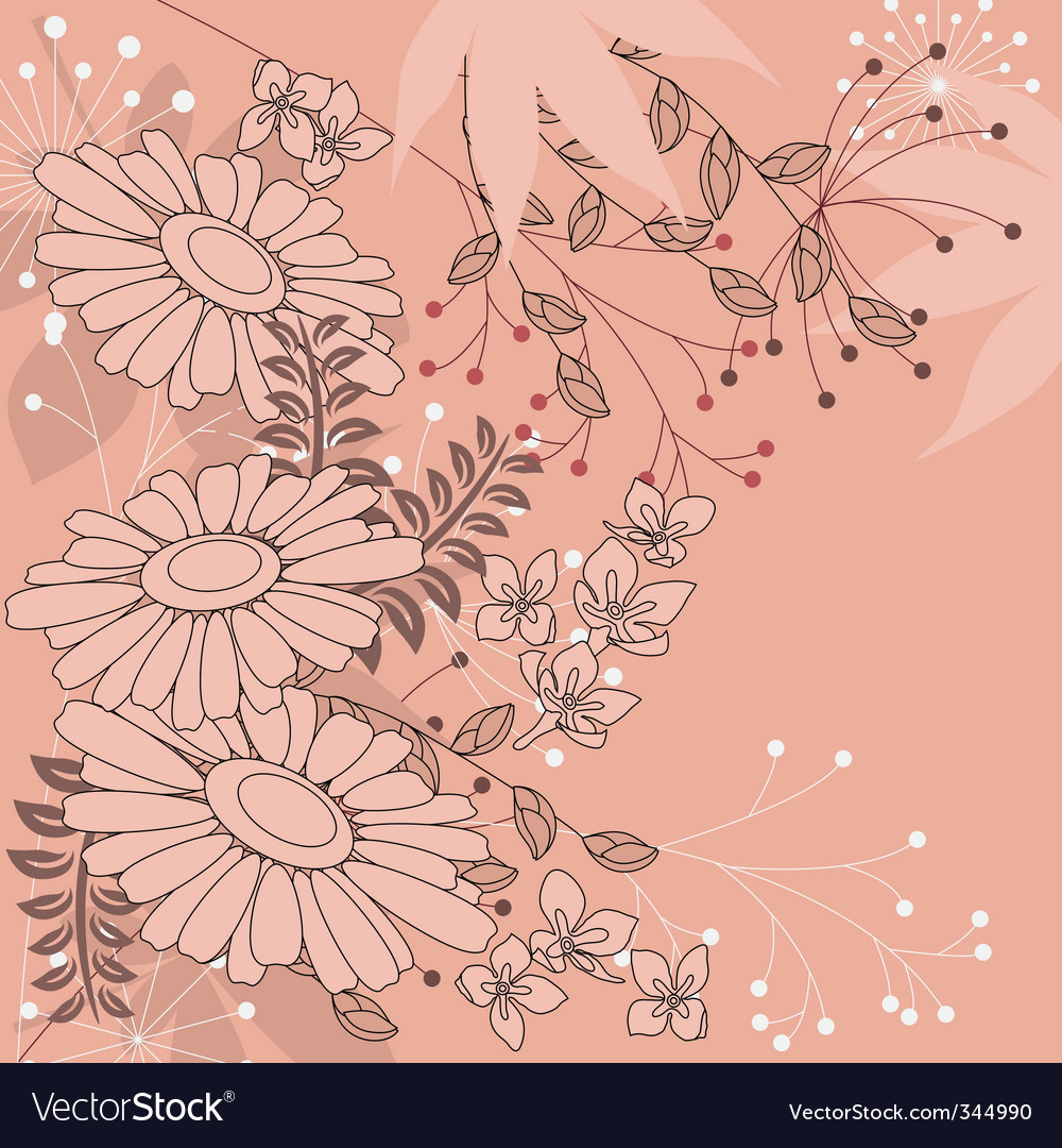 Floral background with daisies vector | Price: 1 Credit (USD $1)