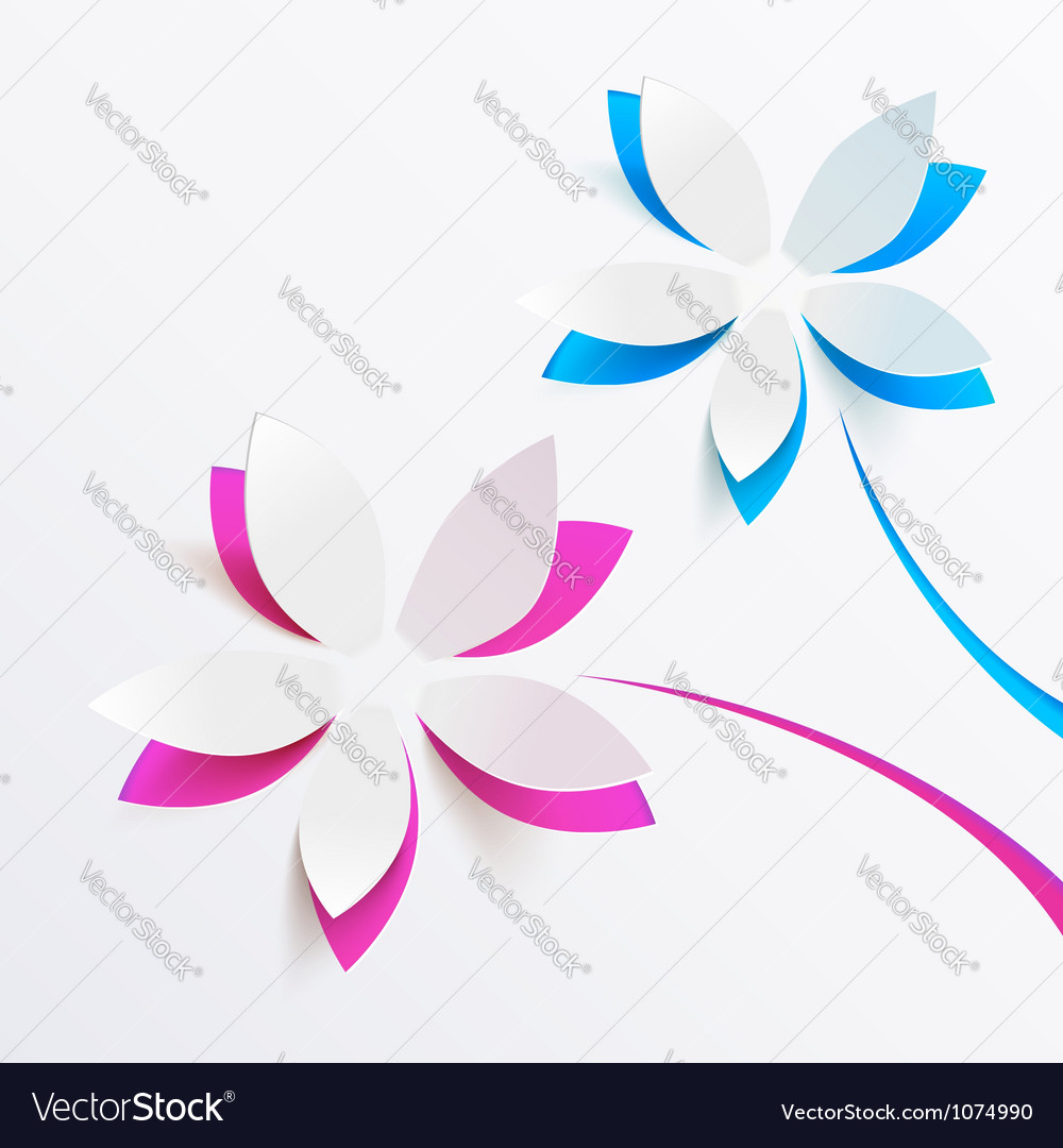 Greeting card background with paper flowers vector | Price: 1 Credit (USD $1)