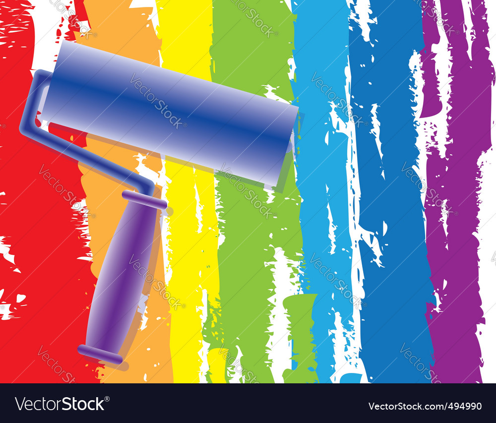 Rainbow painting roller vector | Price: 1 Credit (USD $1)