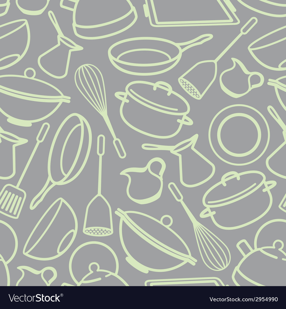 Seamless background with kitchen utensil vector | Price: 1 Credit (USD $1)
