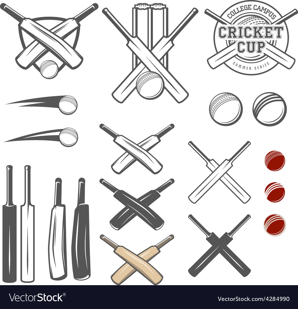 Set of cricket team emblem design elements vector | Price: 1 Credit (USD $1)