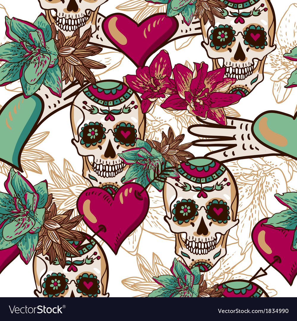 Skull hearts and flowers seamless background vector | Price: 1 Credit (USD $1)