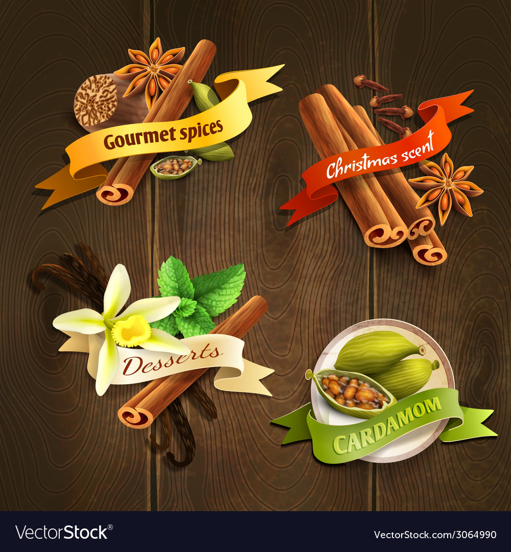 Spices badges set vector | Price: 1 Credit (USD $1)