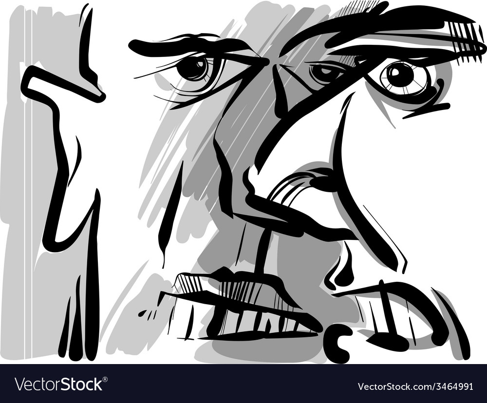 Angry arguing men sketch drawing vector | Price: 1 Credit (USD $1)