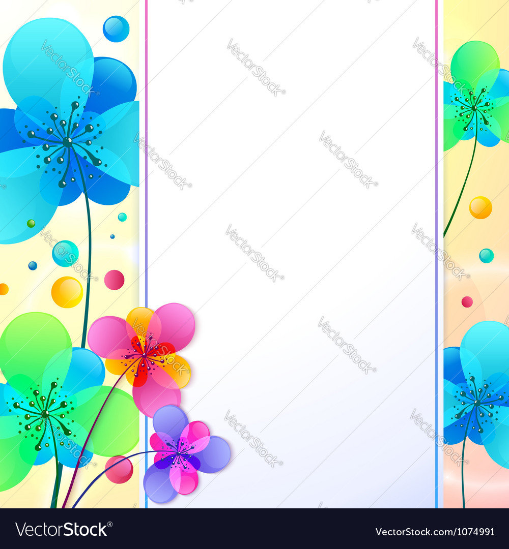Bright flowers background greeting card vector | Price: 1 Credit (USD $1)