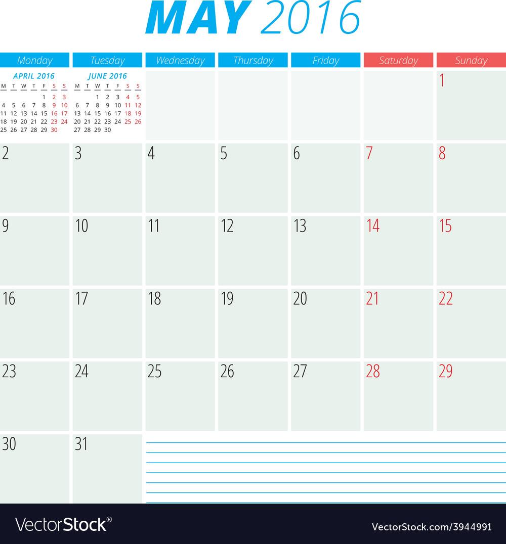 Calendar 2016 flat design template may week starts vector | Price: 1 Credit (USD $1)