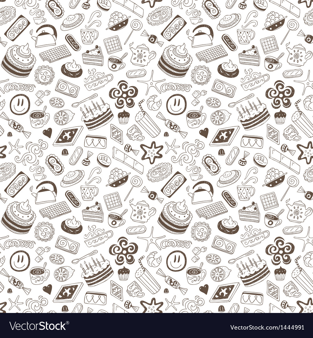 Coffee and sweets - seamless background vector | Price: 1 Credit (USD $1)