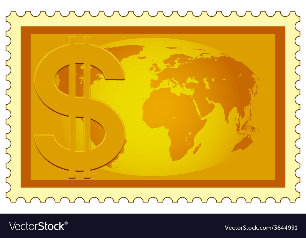 Dollar and globe on stamp vector | Price: 1 Credit (USD $1)