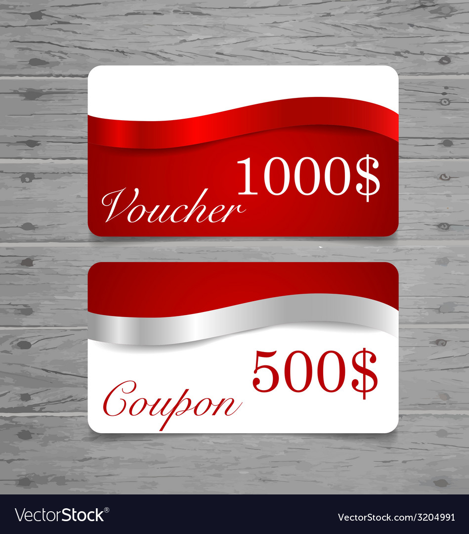 Gift cards sale coupon voucher with red ribbons vector | Price: 1 Credit (USD $1)