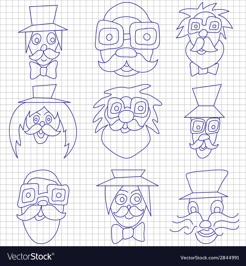 Hipster faces with mustaches and sunglasses vector | Price: 1 Credit (USD $1)