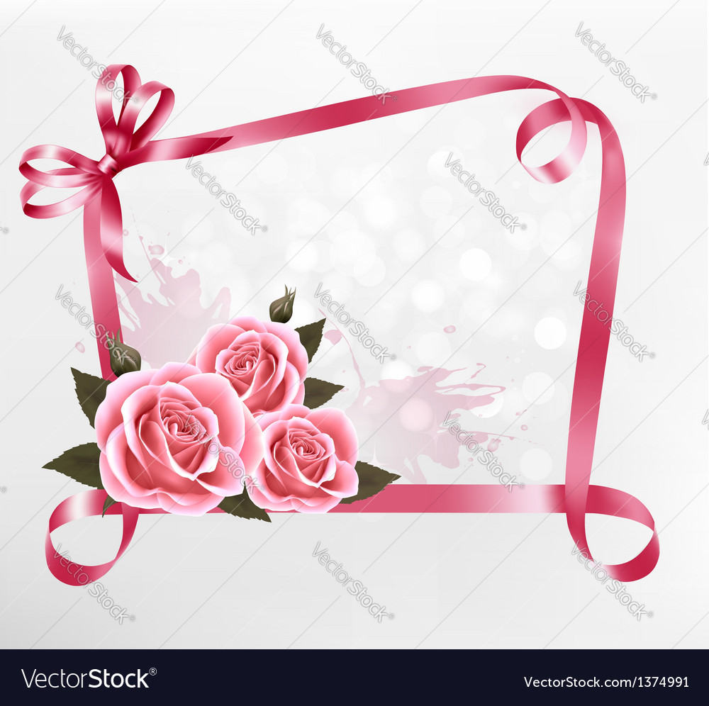 Holiday background colorful flowers with pink bow vector | Price: 1 Credit (USD $1)