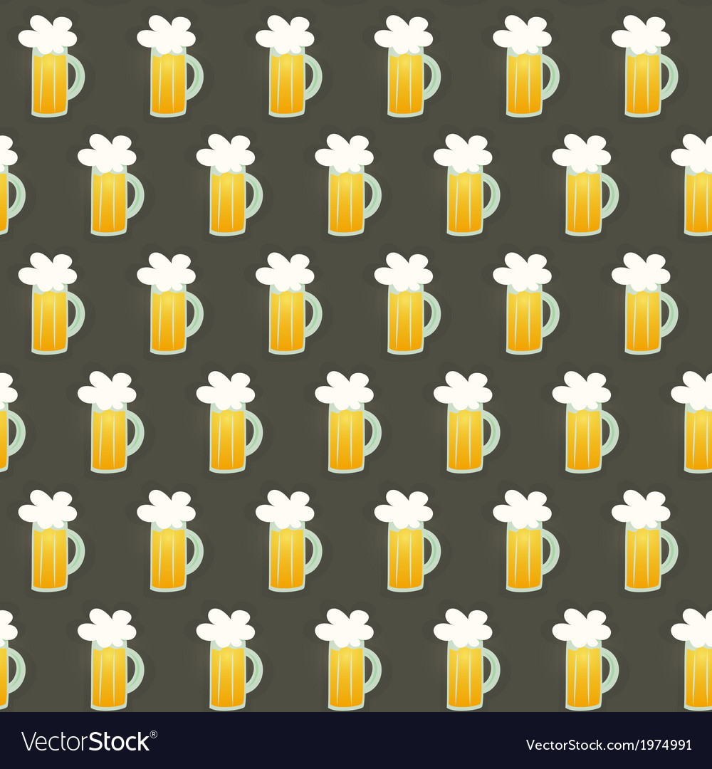 Seamless pattern glass beer mug on a brown vector | Price: 1 Credit (USD $1)