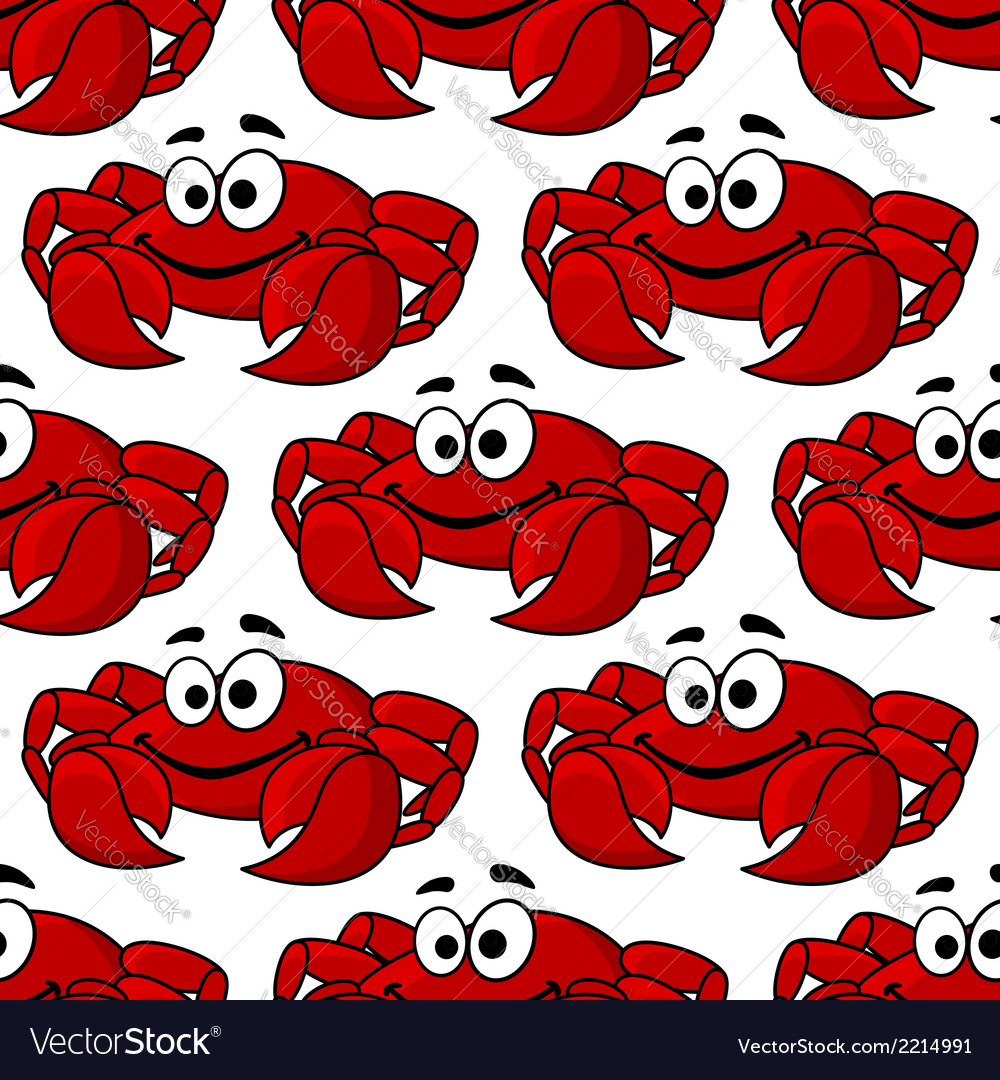 Seamless pattern of a cute happy red crab vector | Price: 1 Credit (USD $1)