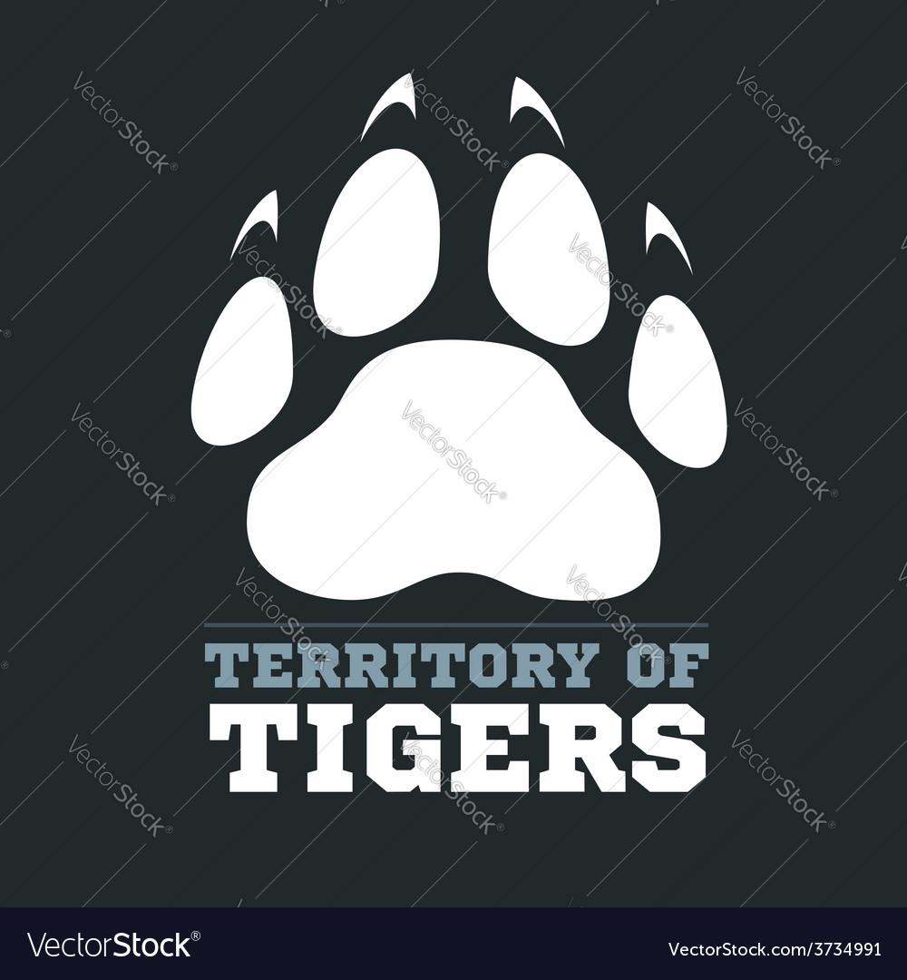 Tiger footprint on dark background - vector | Price: 1 Credit (USD $1)
