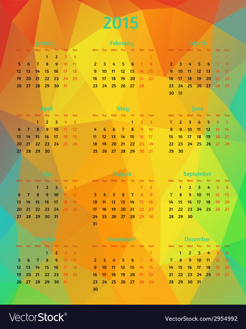 Abstract 2015 year polygonal calendar vector | Price: 1 Credit (USD $1)