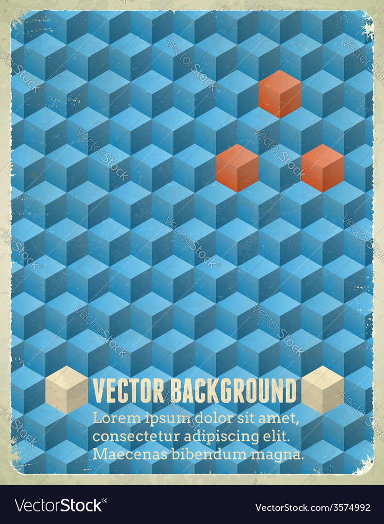 Aged poster with blue cubes vector | Price: 1 Credit (USD $1)