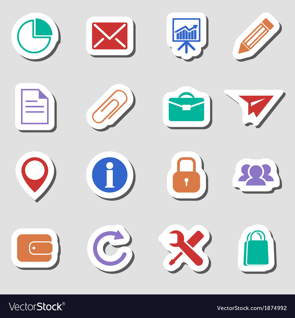 Color business icons as labes vector | Price: 1 Credit (USD $1)