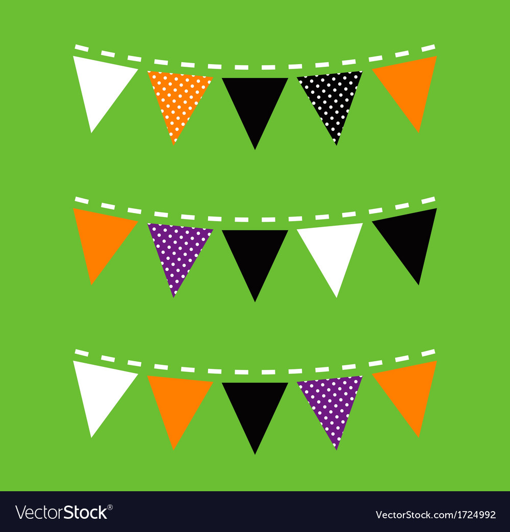 Colorful halloween bunting isolated on green vector | Price: 1 Credit (USD $1)