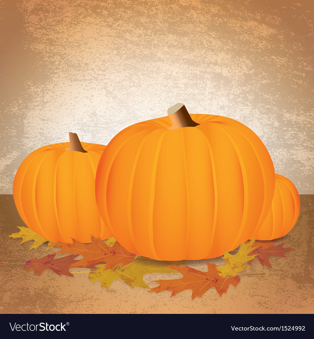 Fall pumpkins and leaves vector | Price: 1 Credit (USD $1)