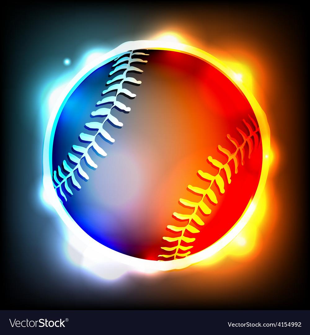 Glowing baseball vector   Price: 1 Credit (USD $1)