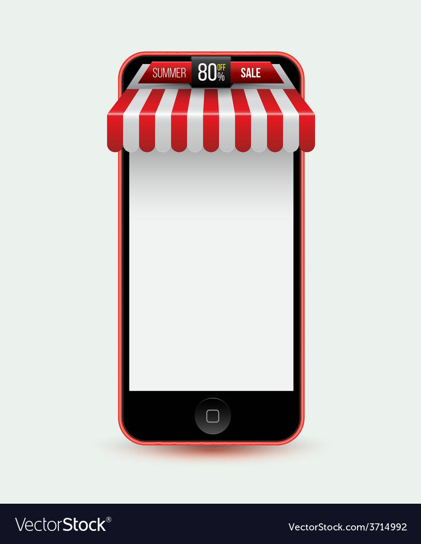 Mobile phone mobile store concept with awning vector | Price: 1 Credit (USD $1)