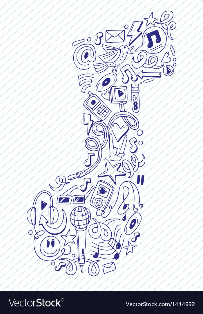 Music note- doodles collection vector | Price: 1 Credit (USD $1)