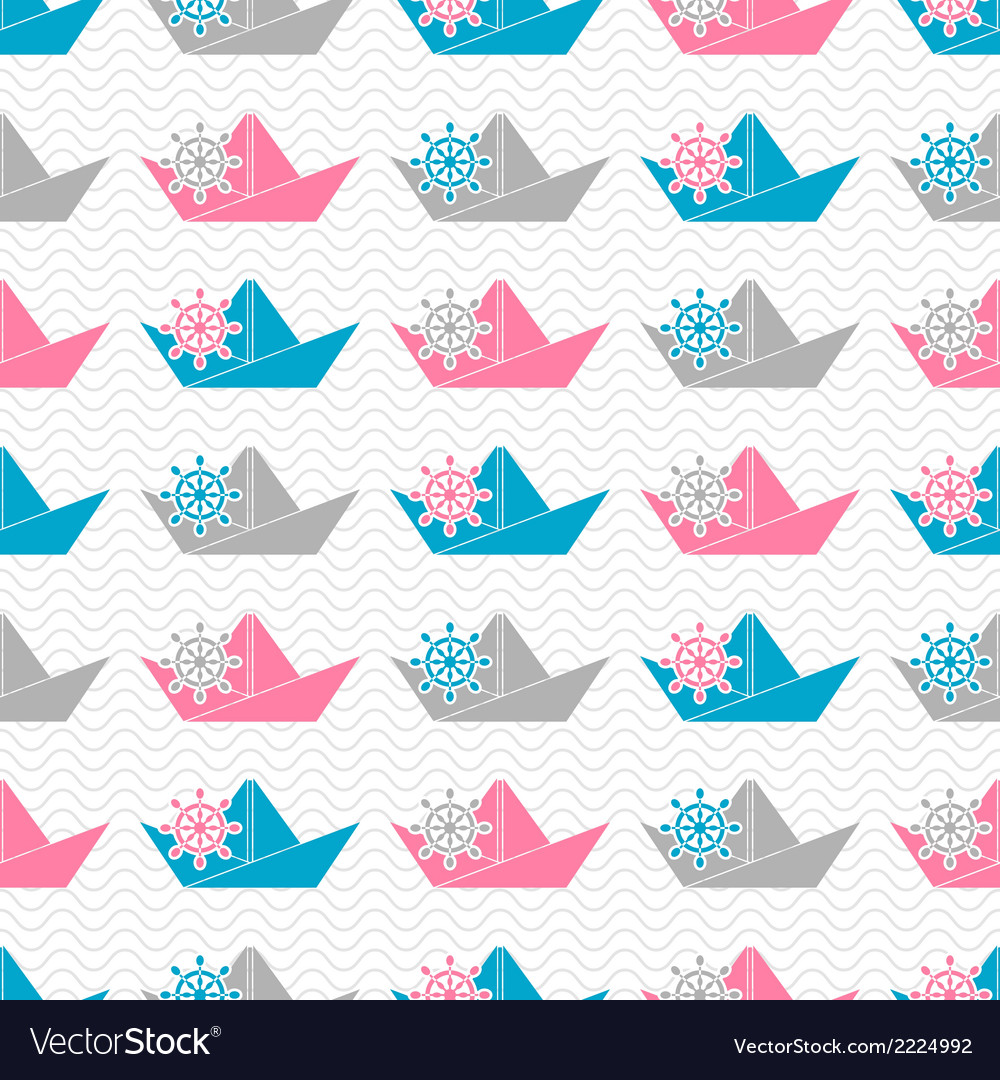 Paper boat pattern vector | Price: 1 Credit (USD $1)