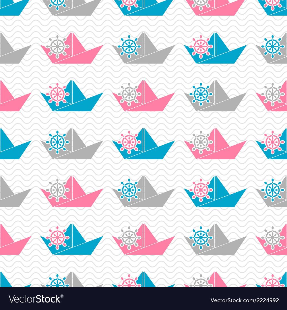 Paper boat pattern vector | Price: 1 Credit (USD $1)