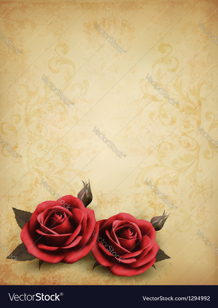 Retro background with beautiful red roses with vector | Price: 1 Credit (USD $1)