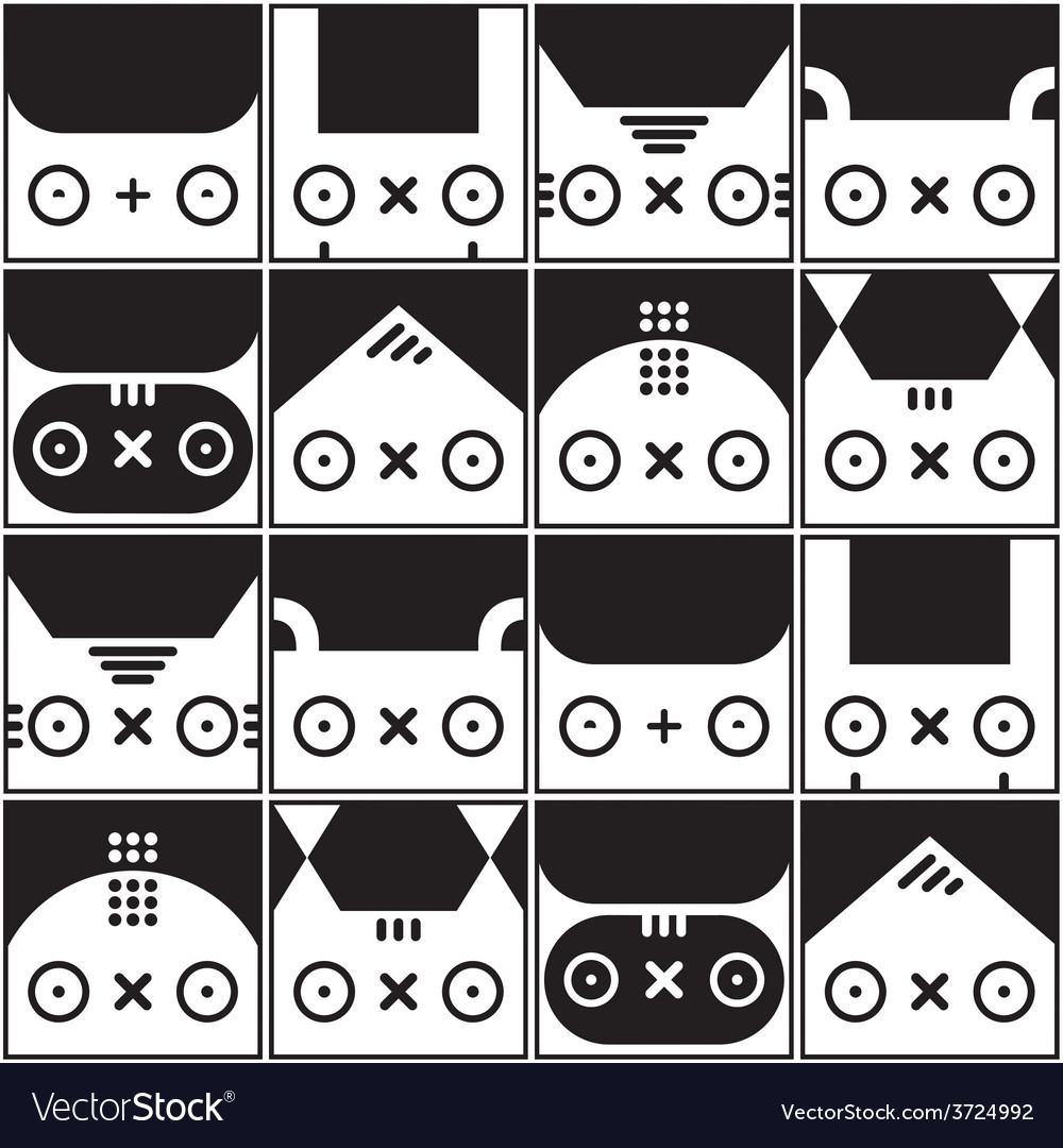 Seamless kawaii pattern with animals vector | Price: 1 Credit (USD $1)