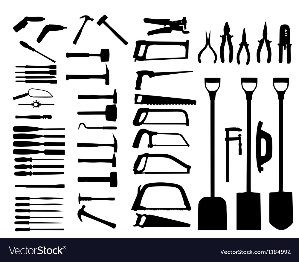 Set of power tools shovel drill hammer icon vector | Price: 1 Credit (USD $1)