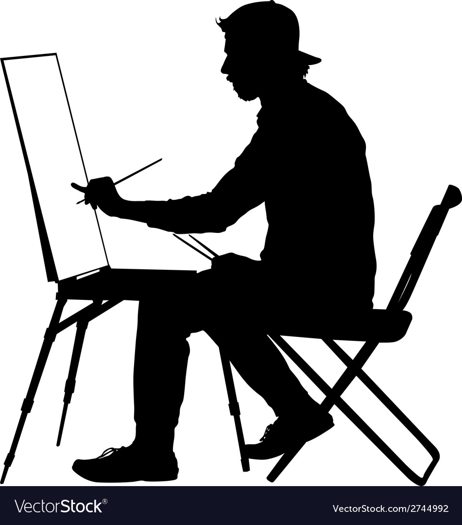 Silhouette artist at work on a white background vector | Price: 1 Credit (USD $1)