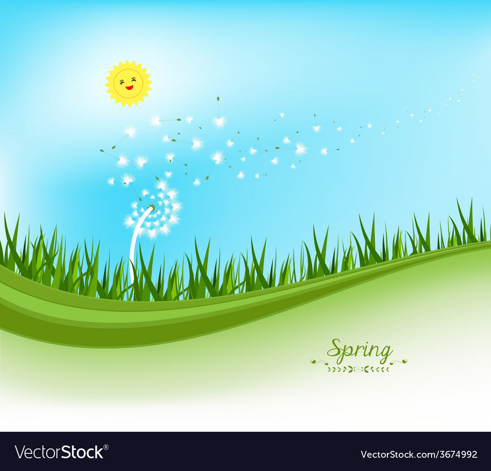 Spring banners with dandelion and blue sky vector | Price: 1 Credit (USD $1)