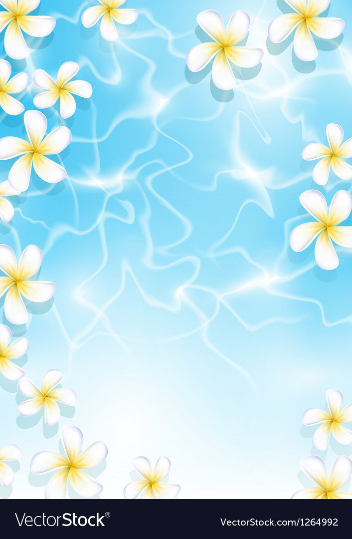 Tropical background with flowers in water vector | Price: 1 Credit (USD $1)