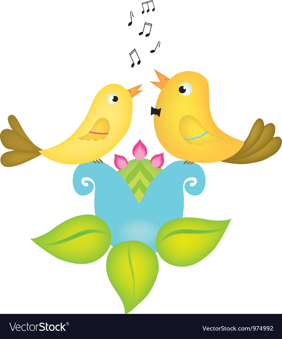 Two little birds singing vector | Price: 1 Credit (USD $1)