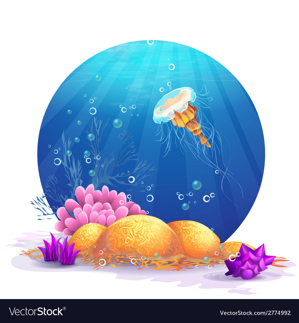 Underwater rocks with seaweed and fish fun vector | Price: 1 Credit (USD $1)