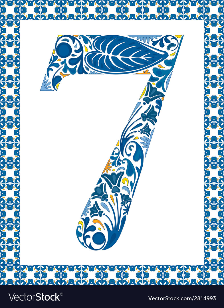 Blue number 7 vector | Price: 1 Credit (USD $1)