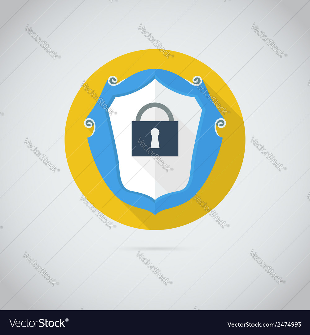 Flat icon with lock vector | Price: 1 Credit (USD $1)