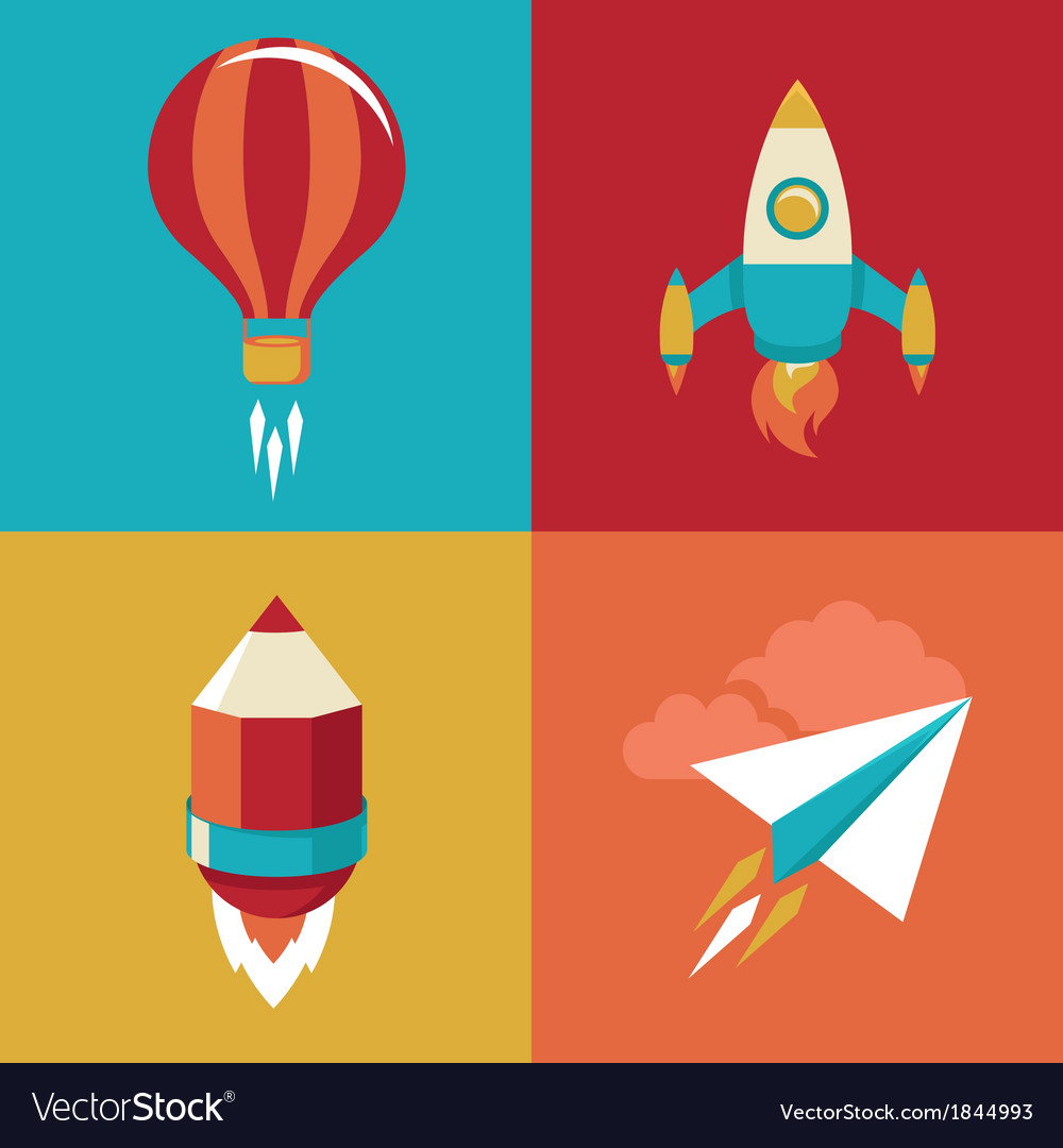 Icons in flat style - start up and launch vector | Price: 1 Credit (USD $1)