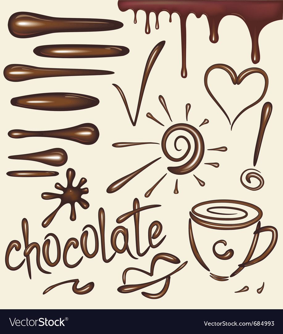 Set of chocolate drips brushs vector | Price: 1 Credit (USD $1)