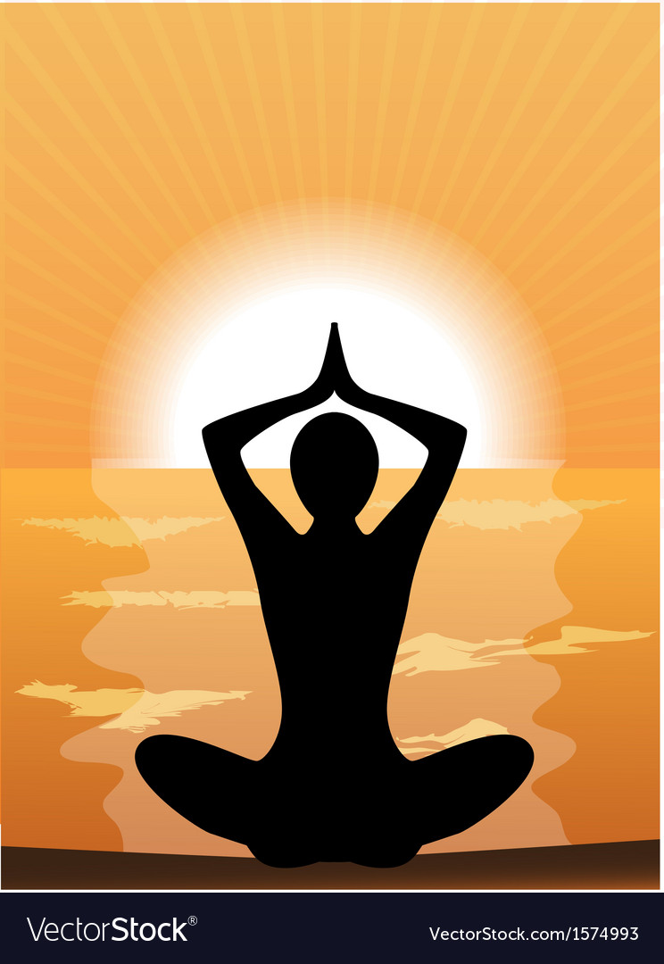 Silhouette of a woman doing yoga vector | Price: 1 Credit (USD $1)