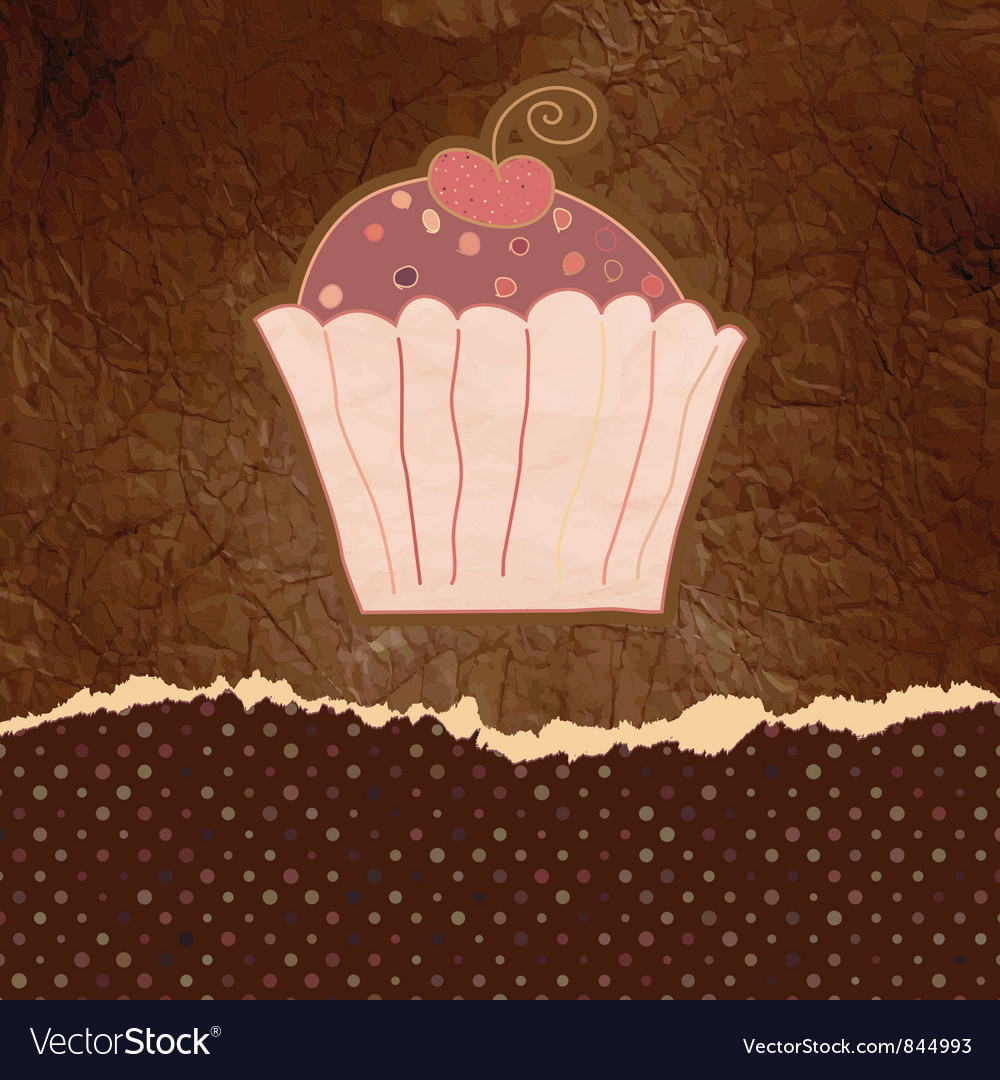 Vintage cupcake birthday card vector | Price: 1 Credit (USD $1)