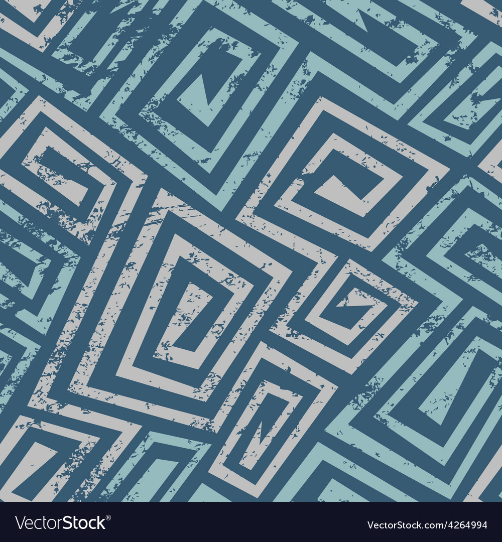 Ancient blue spiral seamless pattern with grunge vector | Price: 1 Credit (USD $1)